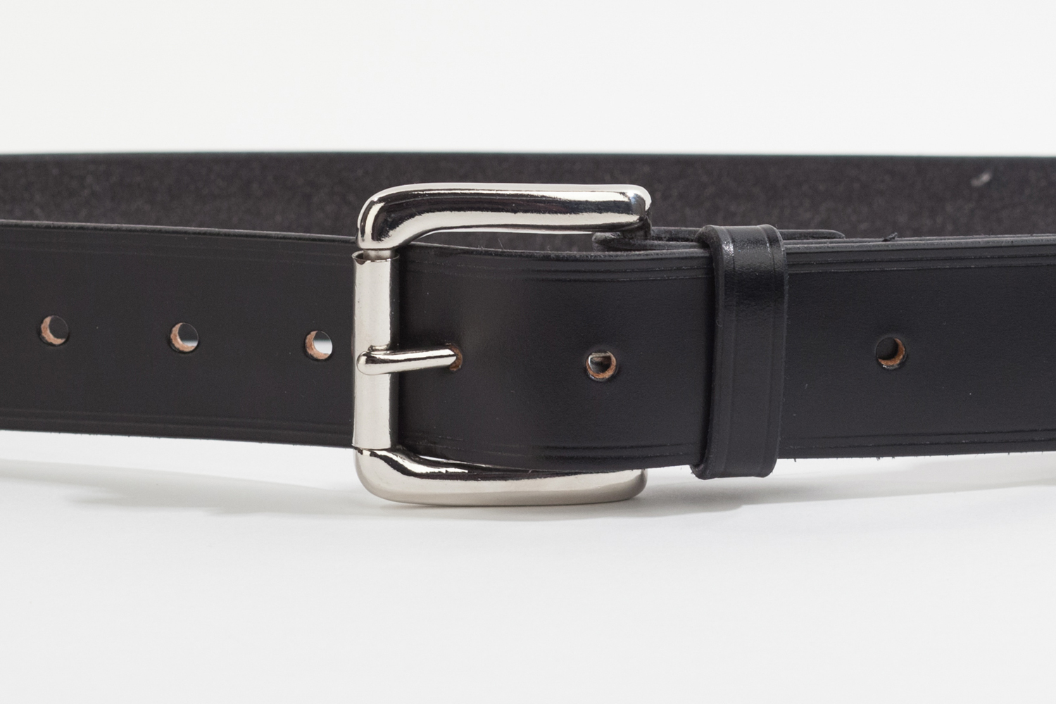 black bridle leather belt with 1 5 inch roller buckle