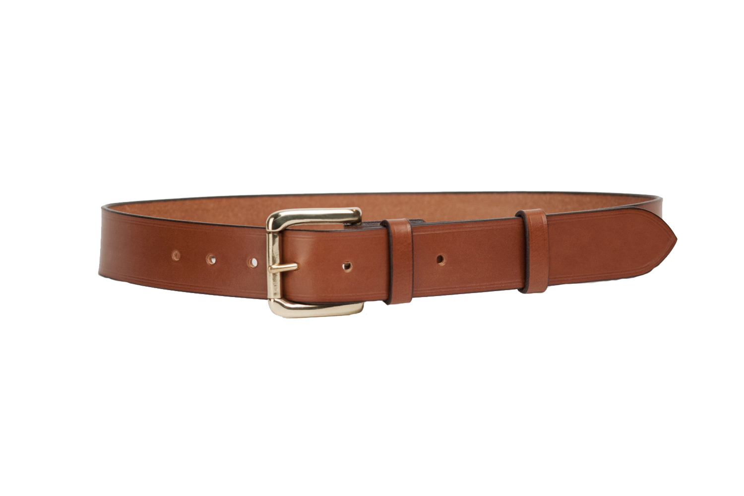 mid brown bridle leather belt with 1 5 inch roller buckle