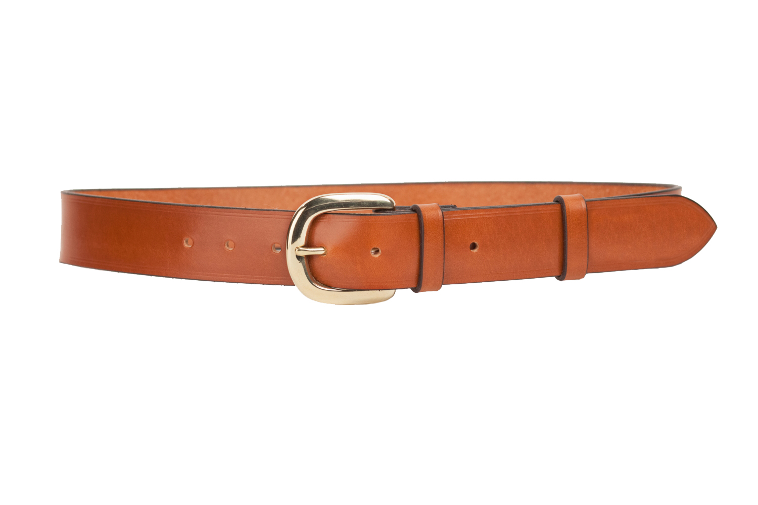 bridle leather belt with 1 5 inch horseshoe buckle