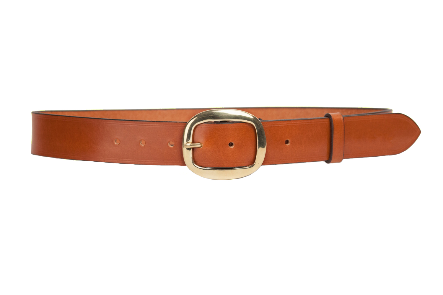 bridle leather belt with 1 5 inch oval buckle